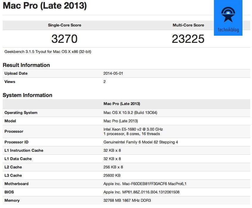 Apple Mac Pro Geekbench 3 Resultat (32bit)