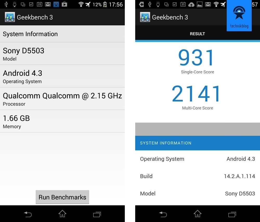 Geekbench 3 Resultate für Xperia Z1 Compact