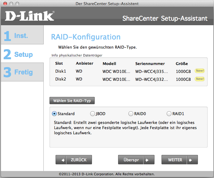 DLink Wizard für ShareCenter