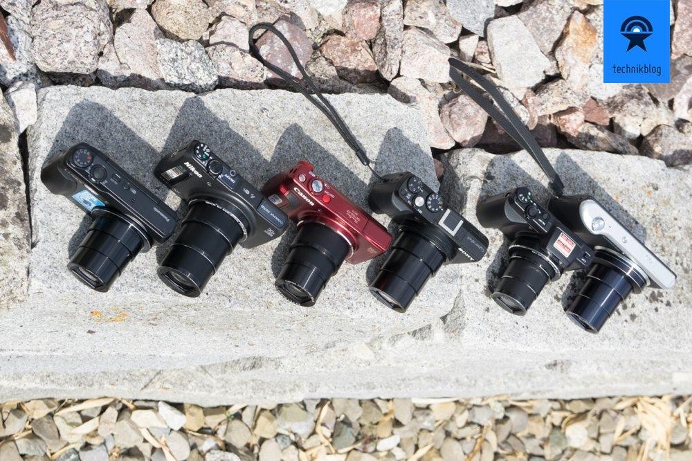 Alle Testkameras mit ausgefahrenem Objektiv