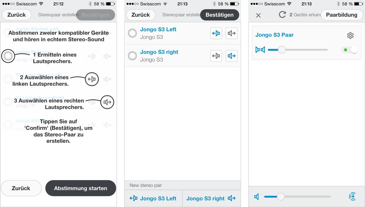 Jongo S3 Stereo-Paar erstellen in der Pure App