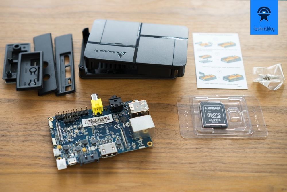 Mein Banana Pi Set mit Gehäuse und SD-Karte mit Linux vorinstalliert.
