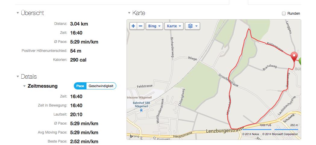 Garmin Connect: Detaildarstellung nach GPS-Nutzung