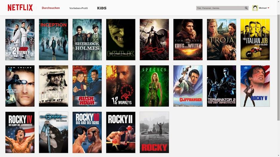 Netflix Deutschland - US-Blockbuster nach Erscheinungsdatum sortiert.(Screenshot von M.Aschenborn)