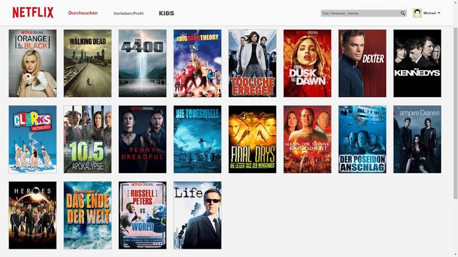 Netflix Deutschland - US-Serien nach Erscheinungsdatum sortiert (Screenshot von M.Aschenborn)
