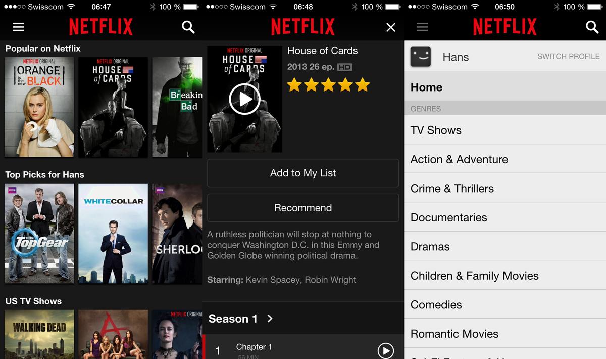 Netflix Schweiz auf dem iPhone