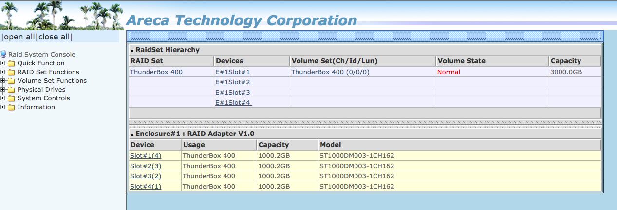 Thunderbox 400 Webinterface: nicht modern - aber umfangreich