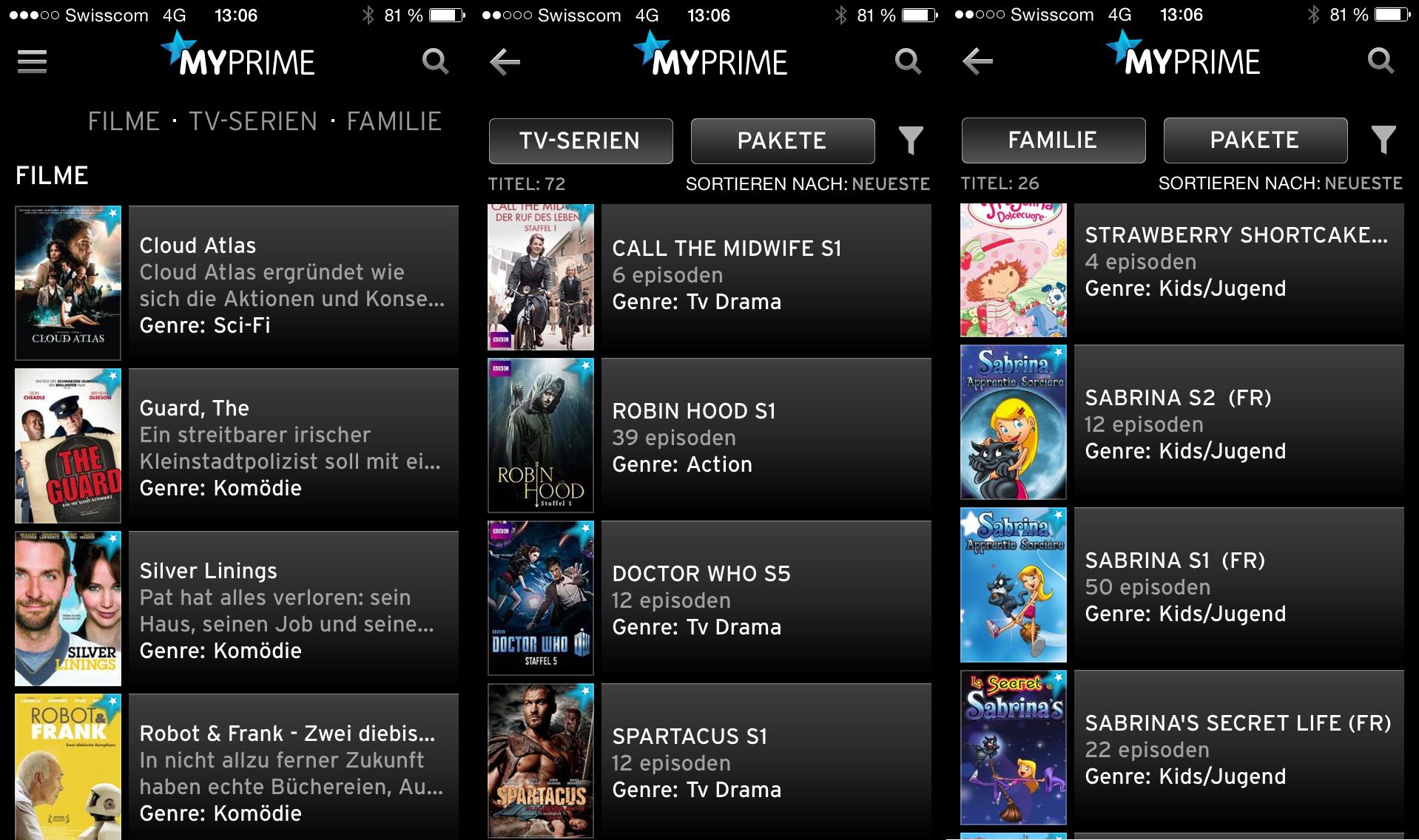 UPC Cablecom MyPrime in der Horizon Go App