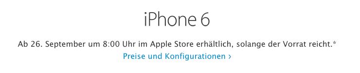 iPhone 6 in der Schweiz Verkaufsstart