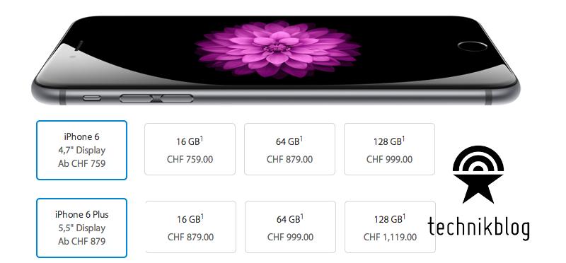 iPhone 6 und iPhone 6 Plus Preisübersicht Schweiz by Technikblog