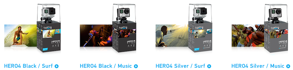 Hero 4 Black & Silver Editions Surf und Music