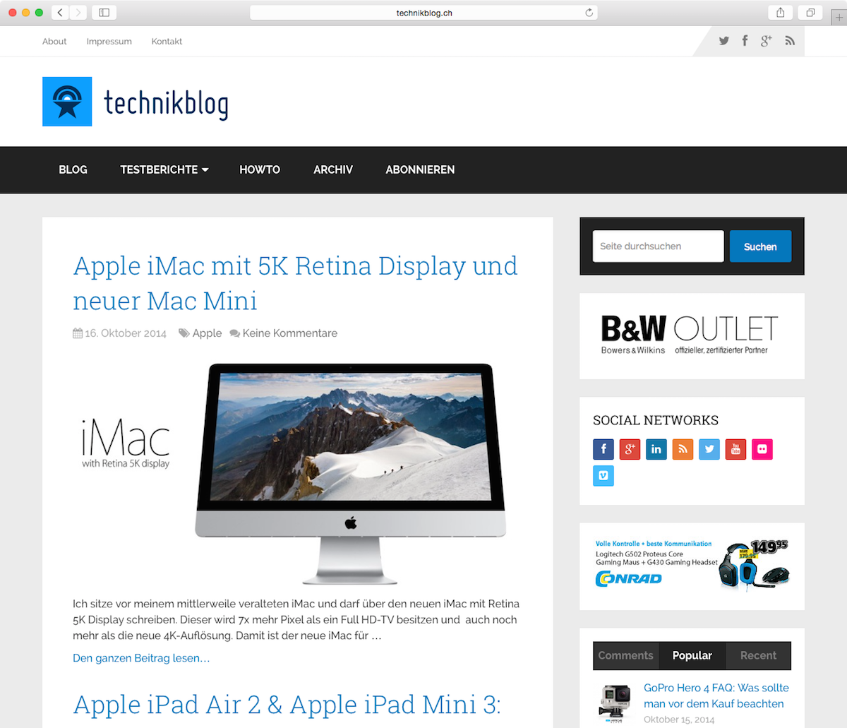 Technikblog Redesign 2014 Screenshot