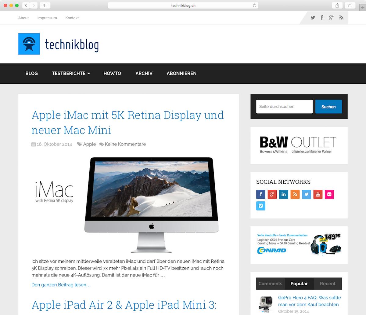 Technikblog Redesign 2014 Screenshot