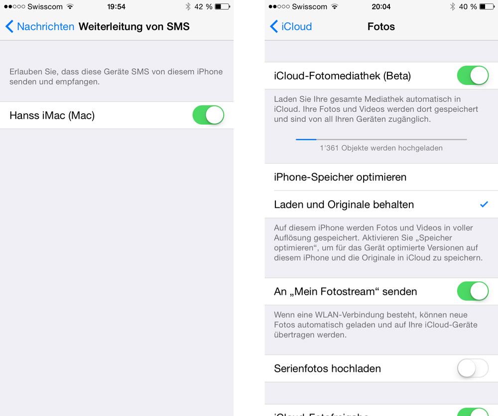 iOS 8.1: Link:-Gerät für Versand von SMS aktivieren / Rechts: iCloud Fotos aktivieren