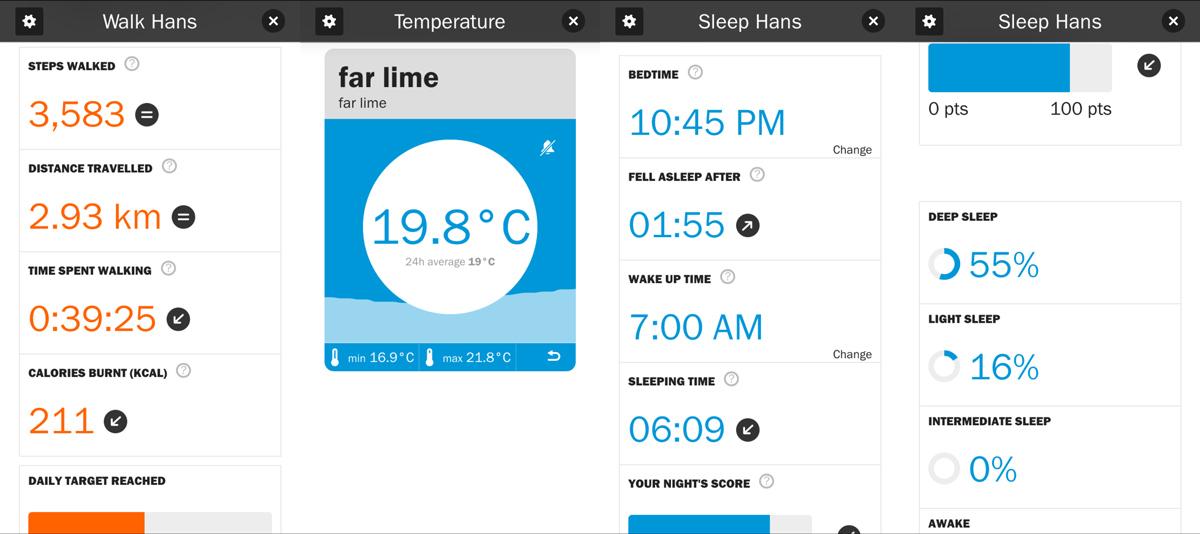 Screenshots aus der Pocket Mother App zu Bewegung, Temperatur und Schlafverhalten.