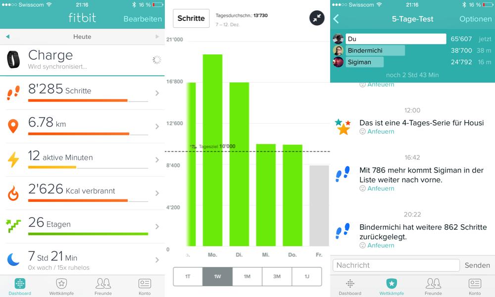 Fitbit Statistiken aus der App.