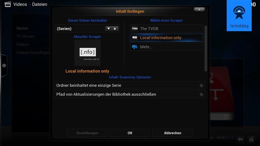 Kodi - Inhalt der Videofreigabe definieren