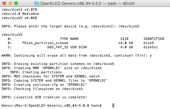 OpenElec USB Key Installer für OS X