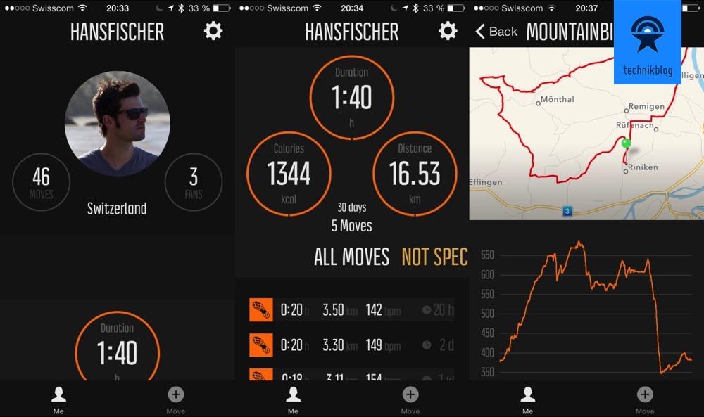 Übersicht der Leistungen und Detailansicht in der Movescount App