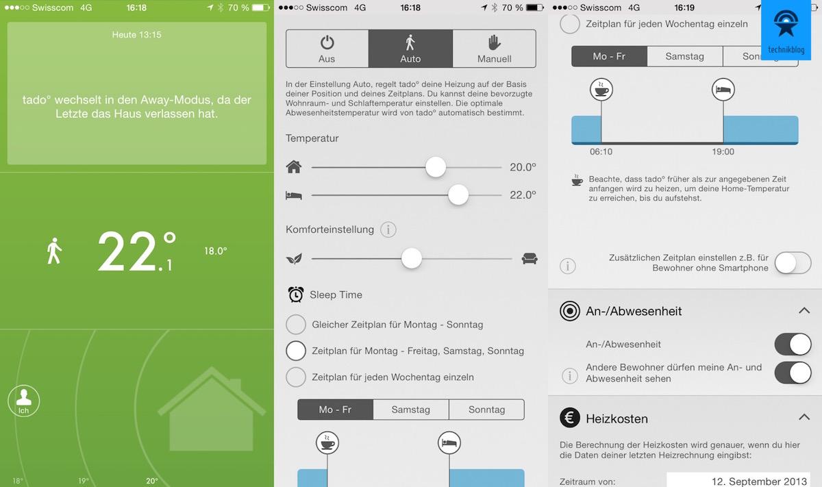 Die Tado App bietet alle Einstellungen des Webportals und auch eine Tagesauswertung an.