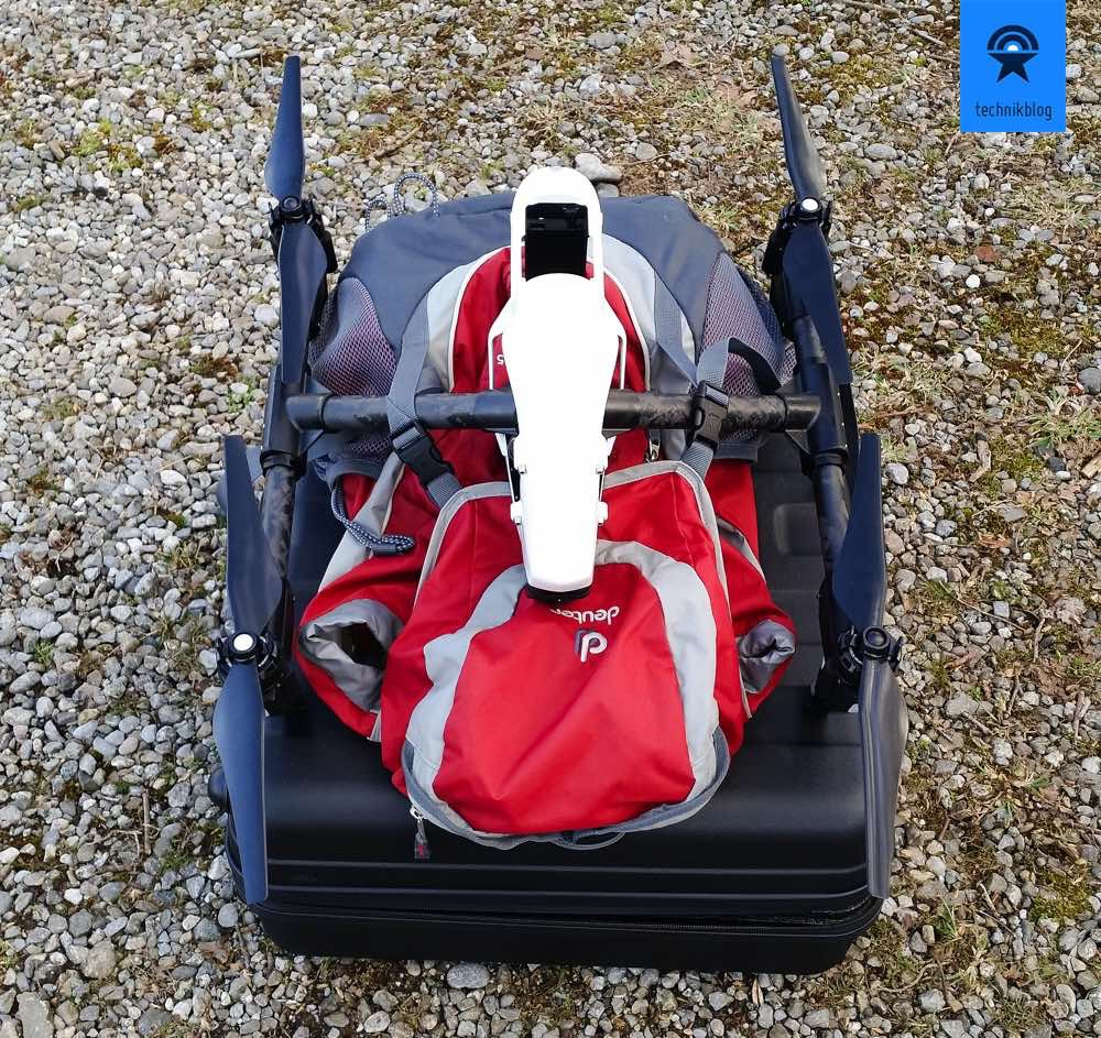 DJI Inspire 1 und der Koffer mit Rucksack für Funke.