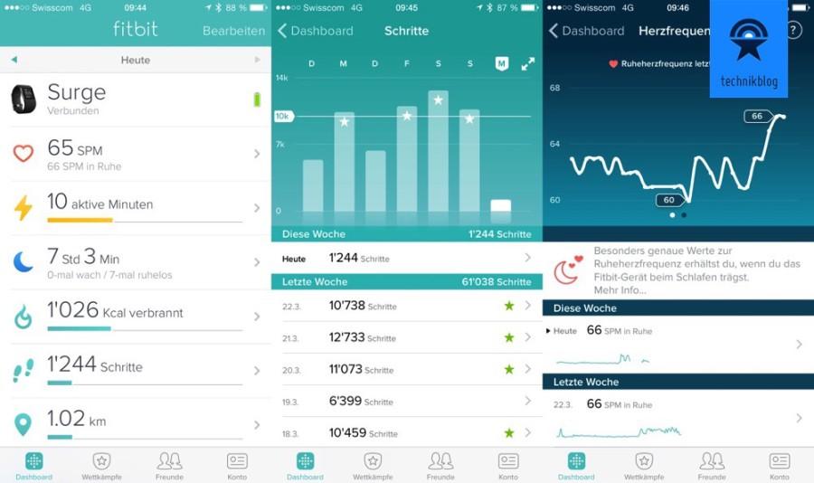 Fitbit Surge als Aktivitätstracker - Auswertung in der App
