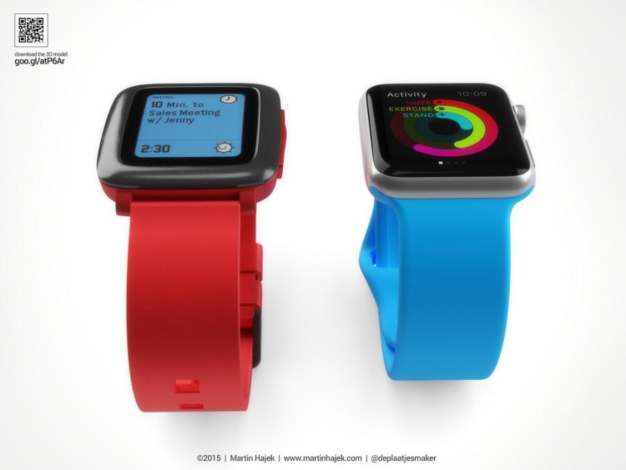 Vergleichsgrafiken Apple Watch vs Pebble Time von Martin Hajek