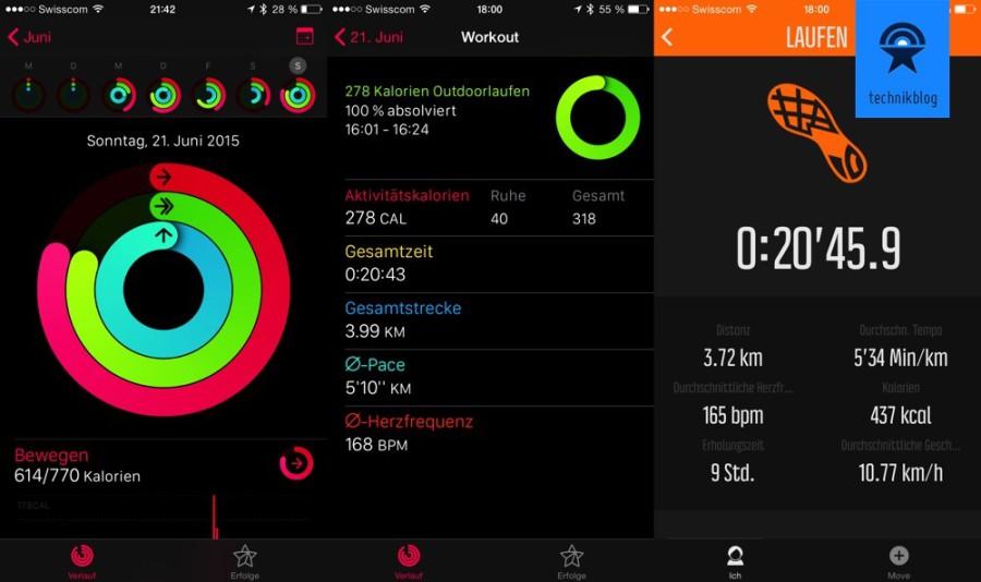 Apple Watch - Vergleich Sport mit Suunto Ambit3