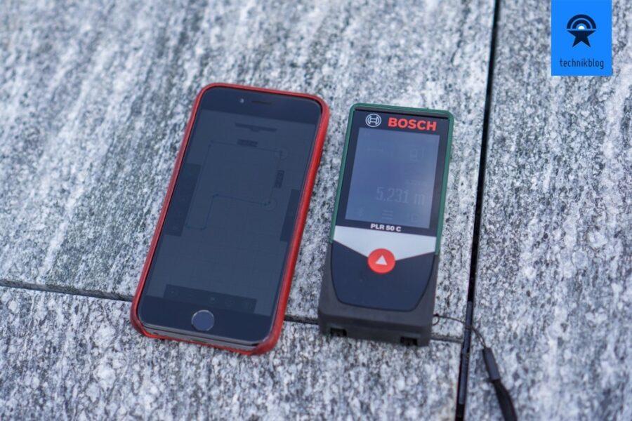 Messergebnisse werden beim PLR 50 C direkt auf das Smartphone mittels Bluetooth übertragen.