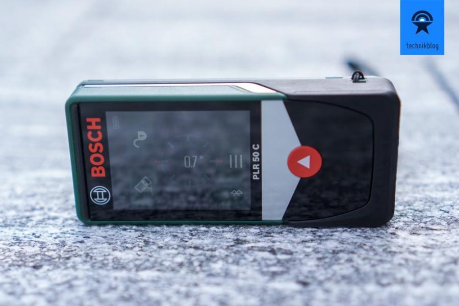 Der Bosch PLR 50 C kann auch Neigungen messen, ideal für den Heimerwerker.