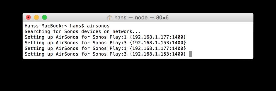 AirSonos läuft - erkennt aber meine Sonos-Geräte doppelt.