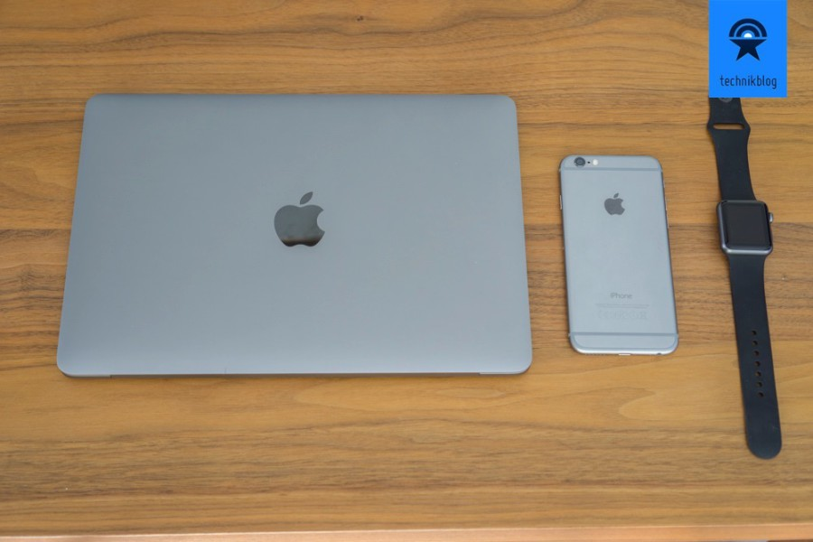 Mobile Setup - MacBook Retina, iPhone 6 and Apple Watch in spacegrey
