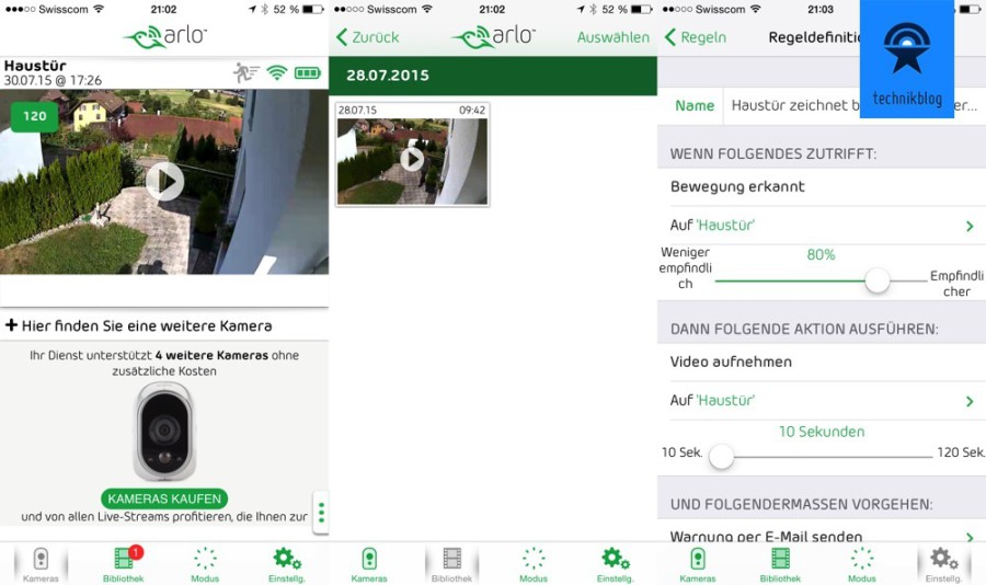 Netgear Arlo App: Übersicht, Tagesansicht und Regeldefinitionen