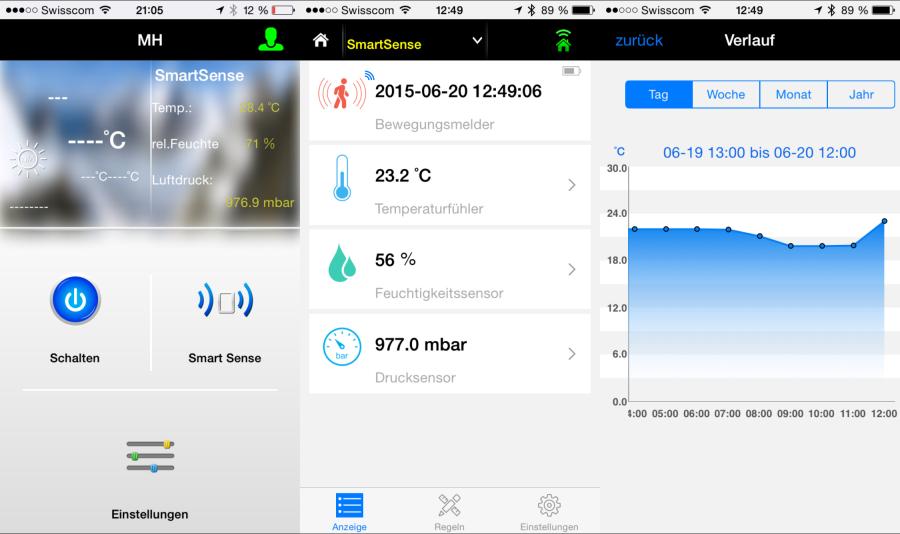 MaxSmart App: Übersicht und Air/Motion Sense Daten