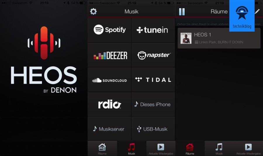 Denon Heos iOS App und Wiedergabequellen