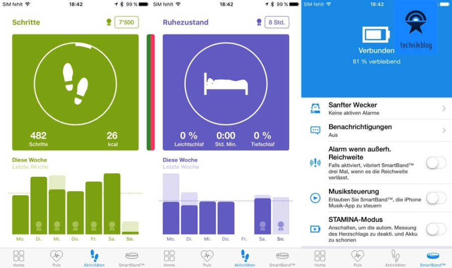 Sony Smartband App auf iOS - Screenshots