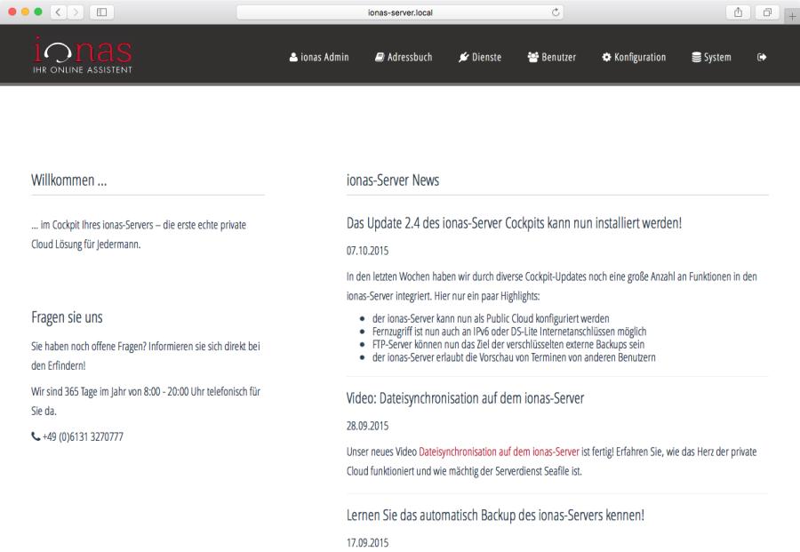 ionas Server - Weboberfläche