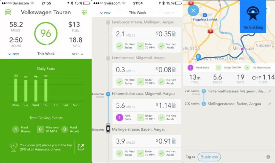 Automatic App - Screenshots bei Nutzung in der Schweiz