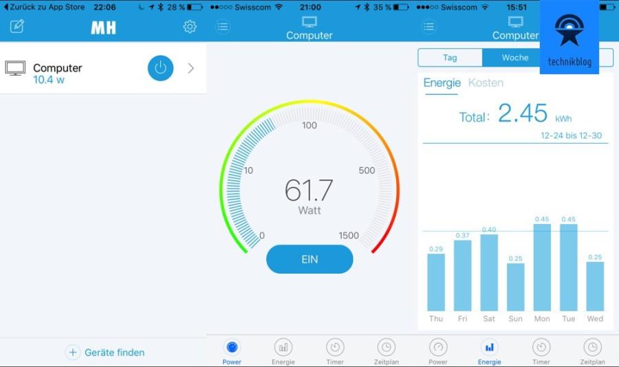 Screenshots aus der Clip-Clap Switch App