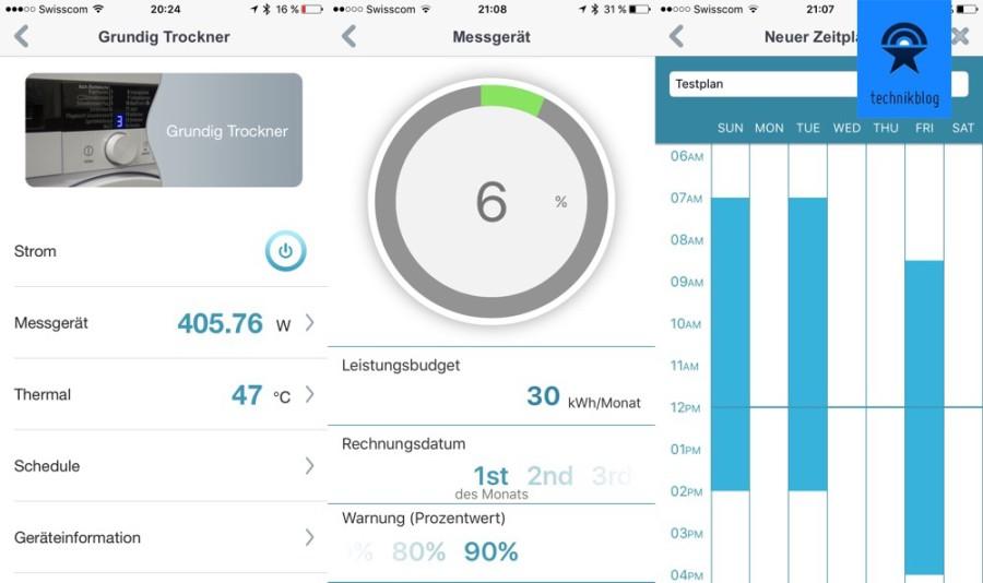 Screenshot - mydlink Home App mit Smartplug im Einsatz