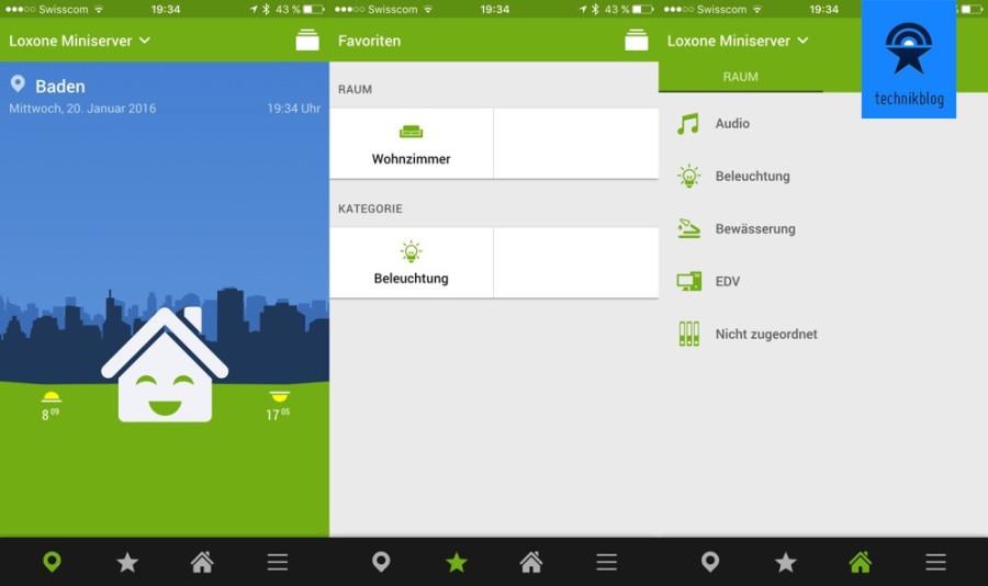 Loxone App - Screenshots meiner anfänglichen Konfiguration