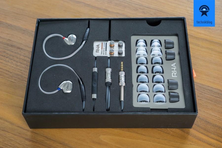 Lieferumfang des RHA T10i In-Ear Kopfhörer